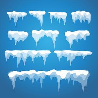 Elementos de carámbano y nieve de vector sobre fondo azul. casquillo de nieve diferente aislado en blanco. elementos de nieve en invierno