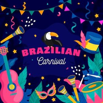 Elementos del carnaval brasileño dibujados a mano