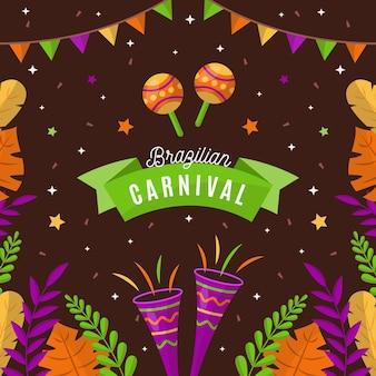 Elementos de carnaval brasileño de diseño plano.