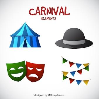 Elementos de carnaval coloridos en estilo realista