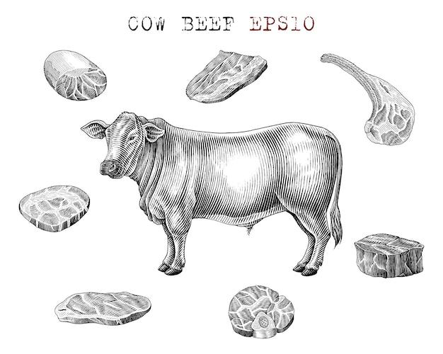 Elementos de carne de vaca en blanco y negro en estilo grabado