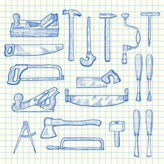 Elementos de carpintería dibujados a mano de vector en hoja de celda azul