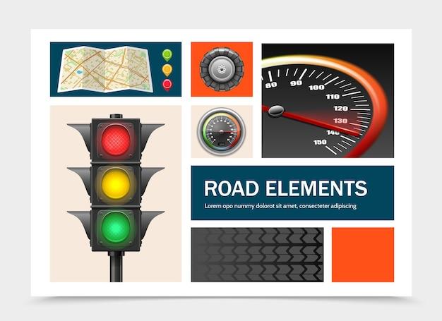 Elementos de la carretera realistas con punteros de mapa de navegación, semáforo, velocímetro, tractor, neumático, ilustración