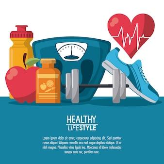 Los elementos del cartel en color deporte estilo de vida saludable con ritmo del latido del corazón