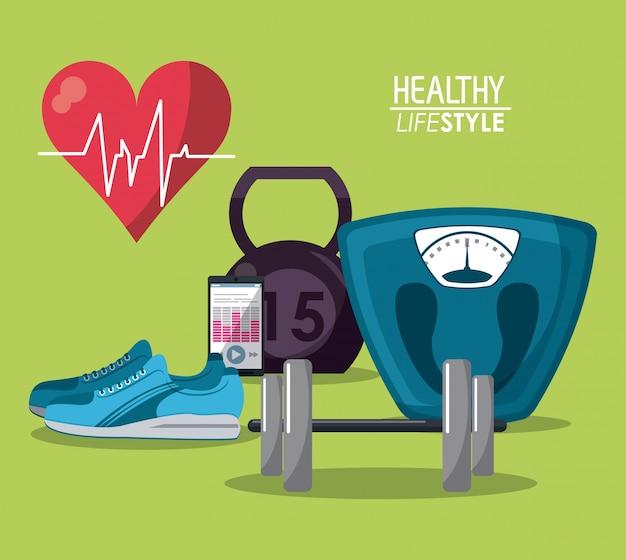 Elementos del cartel de color deporte estilo de vida saludable