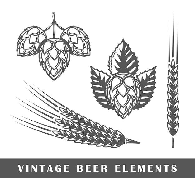 Elementos de cereal de cerveza vintage