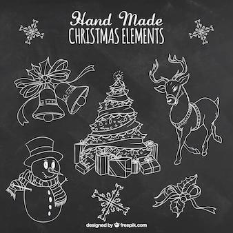 Elementos chalkdrawn temporada christman