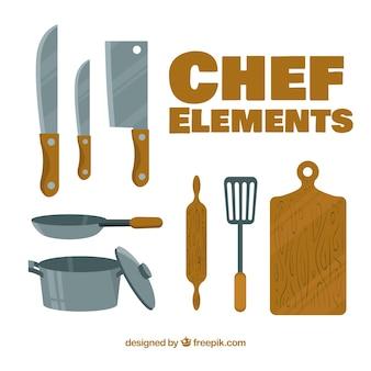Elementos del chef con diseño plano