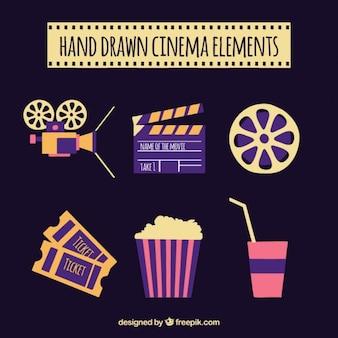 Elementos de cine en colores rosa y morado