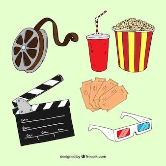 Elementos de cine dibujados a mano