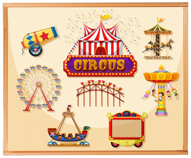Elementos de circo para carteles que incluyen canon, jaula, juegos y atracciones