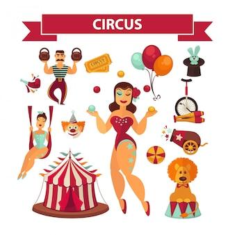 Elementos de circo e intérpretes.