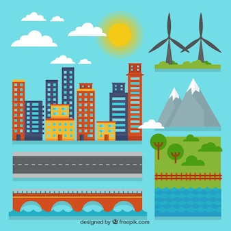 Elementos de ciudad en diseño plano