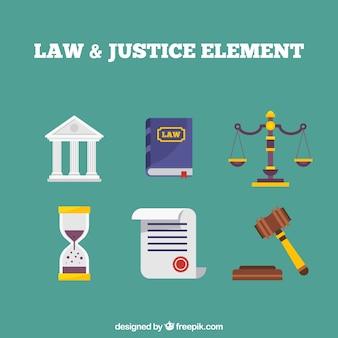 Elementos clásicos de ley y justicia con diseño plano