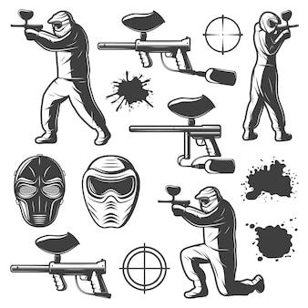 Elementos del club de paintball monocromo vintage