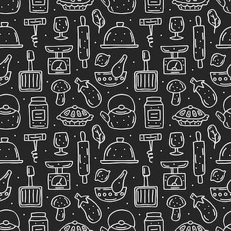 Elementos de cocina lindo dibujado a mano de patrones sin fisuras