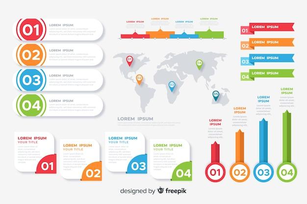 Elementos de la colección de infografía plana.