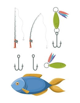 Elementos coloridos de la colección del sistema a la caña de pescar y los ganchos