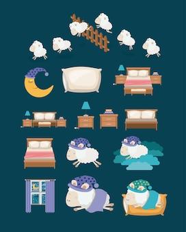 Elementos coloridos dormir tiempo