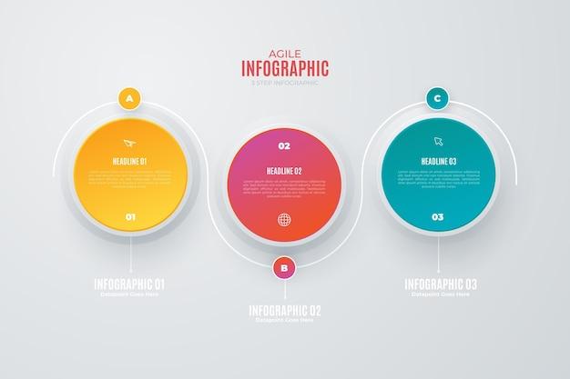 Elementos coloridos de infografía ágil