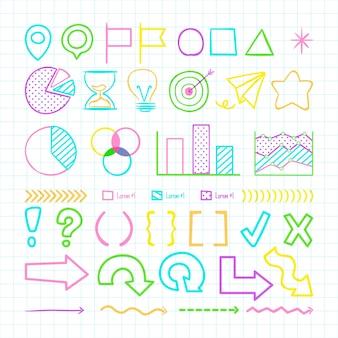 Elementos coloridos de infografía escolar