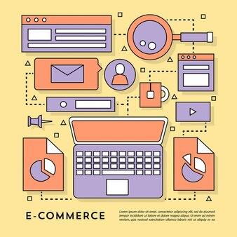 Elementos para el comercio electrónico sobre un fondo amarillo