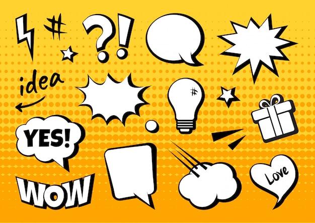 Elementos cómicos y burbujas de discurso en estilo pop art.