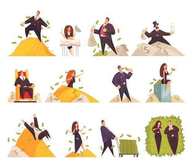 Elementos cómicos de dibujos animados planos de personas ricas con mujer rica bañándose en dinero de hombre millonario