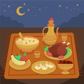 Elementos de comida iftar dibujados a mano