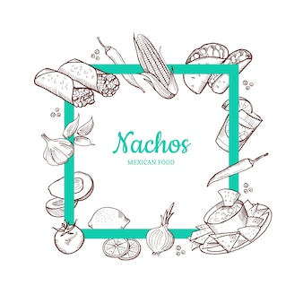 Elementos de comida mexicana esbozada volando alrededor de un marco vacío en negrita