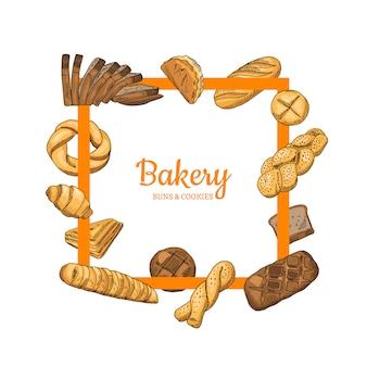 Elementos de comida de panadería de colores dibujados a mano alrededor