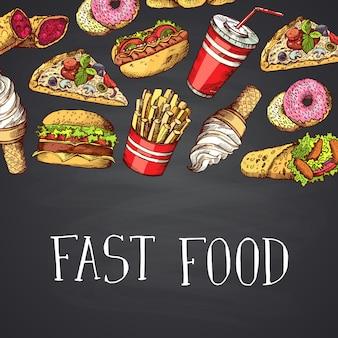 Elementos de comida rápida color dibujado a mano con letras en la pizarra