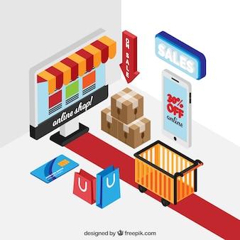 Elementos de compra online en estilo isométrico