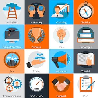 Los elementos del concepto de diseño plano para el desarrollo de habilidades de tutoría y entrenamiento establecen una ilustración vectorial aislada