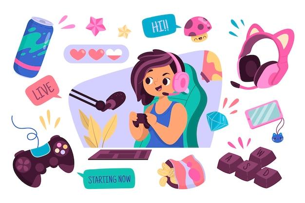 Elementos de concepto de streamer de juego de dibujos animados