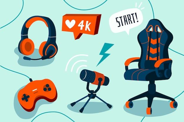 Elementos de concepto de streamer de juego plano