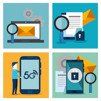 Elementos de conectividad 5g tecnología