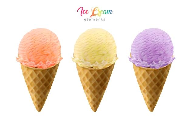 Elementos de conos de helado de colores para usos de diseño aislados