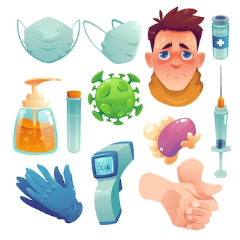 Elementos de coronavirus de diseño plano