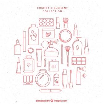 Elementos cosméticos rosa dibujados a mano