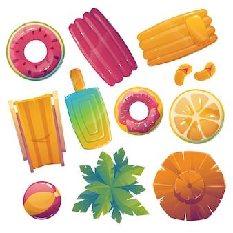 Elementos creativos ilustrados de la piscina.