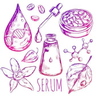 Elementos de crema de gotas de suero