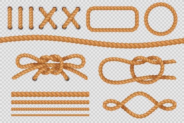 Elementos de cuerda. bordes de la cuerda marina, cuerdas náuticas con nudo, antiguo velero. conjunto