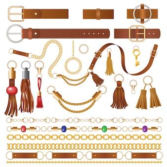Elementos de cuero. decoración de tela para ropa, cadenas de lujo, correas y bordados, detalles trenzados, ilustraciones