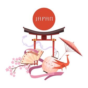 Elementos de la cultura japonesa que incluyen origami de sakura de santuario religioso de círculo rojo sobre fondo blanco dibujos animados retro