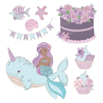Elementos de cumpleaños de tema sirena.