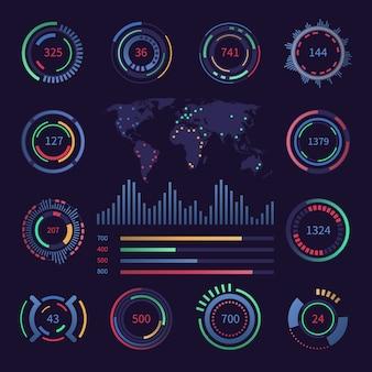 Elementos de datos de visualización de hud digital circular