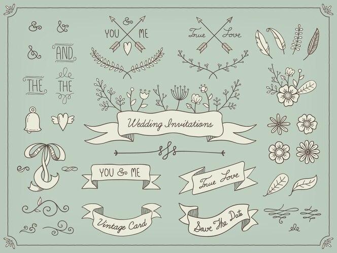 Elementos de boda dibujados a mano
