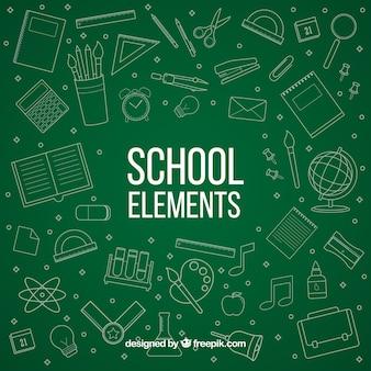 Elementos de colegio en estilo de pizarra