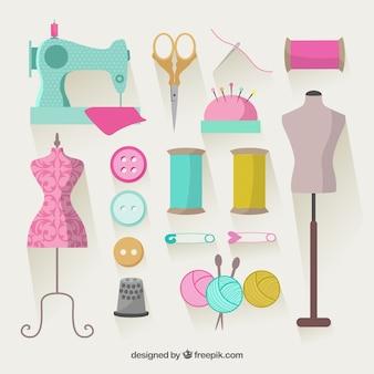 Elementos de costura de colores